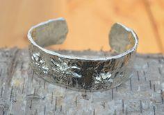 bracelet silver gold rustic design edelweiss by AtelierRitz