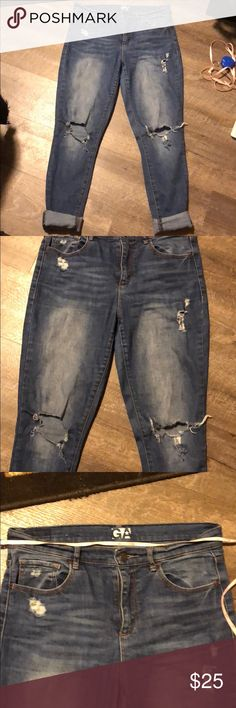 Garage distressed retro high waist jeggings Preloved but still in good condition. Stretch. Tag says size 7 but measures approx 15.5in when laid flat. Garage Jeans Skinny