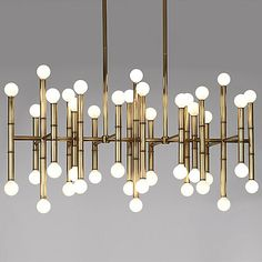 Information: Robert Abbey Jonathan Adler Meurice Chandelier Features: Globes of light pop from a bamboo-like frame, giving the Robert Abbey Meurice Rectangular Home Design, Luxury Interior Design, Design Ideas, Interior Lighting, Modern Lighting, Lighting Design, Vintage Chandelier, Chandelier Lighting, Dining Lighting