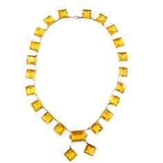 Art Deco Topaz Stone Necklace