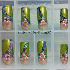mermaid nail art design with foils