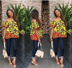 Different Ways Of How To Wear Ankara Off-Shoulder Blouse - Ankara collections brings the latest high street fashion online African Tops, African Shirts, African Print Dresses, African Print Fashion, Africa Fashion, African Women, African Dress, Ankara Blouse, Ankara Tops