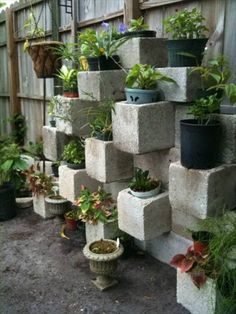 If you have some cinderblocks left from some constructions, you could reuse them as original planters for your