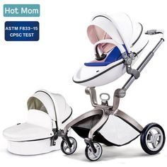 Baby Stroller Hot Mom Baby Carriage with Bassinet Combo High Landscape Pu Leather Stroller,White F22, Best Baby Strollers, Travel Stroller, Baby Prams, Baby Comforter, Buggy, Travel System, Baby Carriage, Baby Month By Month