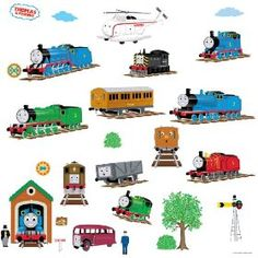 RoomMates RMK1035SCS Thomas The Tank Engine and Friends Peel and Stick Wall Decals, (thomas the tank engine, wall stickers, thomas and friends, wall decor, decals, thomas friends, wall appliques, engines, kids decor, nursery decor)