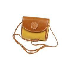 Small Tan & Mustard Leather Handbag - Vintage clothing from Rokit -... ❤ liked on Polyvore featuring bags, handbags, shoulder bags, accessories, purses, сумки, brown leather purse, leather shoulder handbags, leather purse and burberry handbags