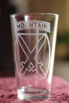 Custom etched 10th mountain division pint glass. Etsy listing at https://www.etsy.com/listing/173865292/10th-mountain-division-etched-pint-glass