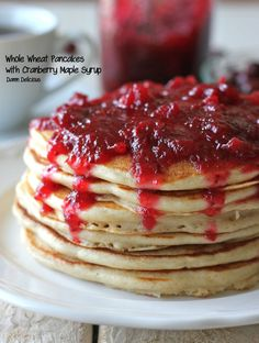 Whole Wheat Pancakes with Cranberry Maple Syrup - Damn Delicious What's For Breakfast, Breakfast Pancakes, Pancakes And Waffles, Breakfast Recipes, Cranberry Orange Sauce, Yummy Treats, Yummy Food, Whole Wheat Pancakes, Love Food