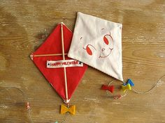 Handmade Kite Valentine with a hand-embroidered Valentine's Day message on the back, from Misako Mimoko on Etsy