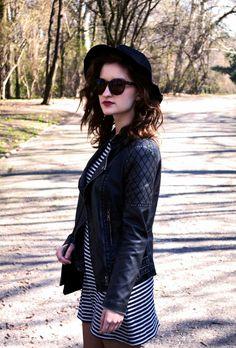 Spring style, hat, dress, stripes