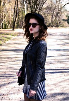 Spring style, hat, dress, stripes