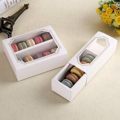 High quality White Macaron box with transparent window dessert macarons pastry packaging boxes in 2 sizes, wholesale price and quality assured Packaging Carton, Baking Packaging, Cookie Packaging, Food Packaging Design, Packaging Boxes, Chocolate Box Packaging, Dessert Boxes, Cupcake Boxes, Box Cake