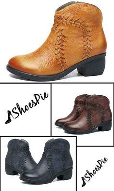 fd7c6f037d1 Shoespie Thread Brush Off Chunky Heel Ankle Boots Chunky Heel Ankle Boots