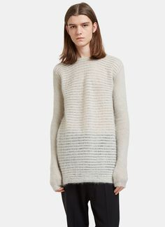 Men's Knitwear - Clothing   Order Now at LN-CC - Oversized Round Neck Contrast Knit Sweater