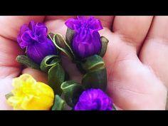 Elif Tıraş - YouTube Nylon Flowers, Organza Flowers, Diy Flowers, Fabric Flowers, Paper Flowers, Baby Hair Bands, Flower Video, Ribbon Work, Ribbon Crafts