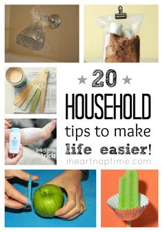 """At the begining of each year I have the sudden urge to PURGE (pun totally intended) and organize my house. I'm always looking for cool tips and things that make my life easier. Send any great tips you have my way! :) Today I've rounded up 20 household tips to make your life easier. YEA! Are you wondering, """"Why didn't I think of that?"""" Yeah... I was too. ;)  20 household tips HERE"""