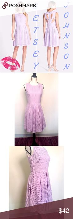 """Cutout Back Eyelet Fit and Flare Dress Charming eyelet lace in a springtime lavender hue is shaped into this darling sundress. Unexpected back cutouts refresh the classic style with modern edge. Length from neckline to hem measures 34"""". Betsey Johnson Dresses Midi"""