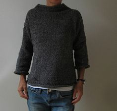 A relaxed pullover, with extended/drop shoulders, a wide funnel neck, and rolled edges. It includes instructions for customizing for men or women, with different sleeve lengths, and optional waist shaping.
