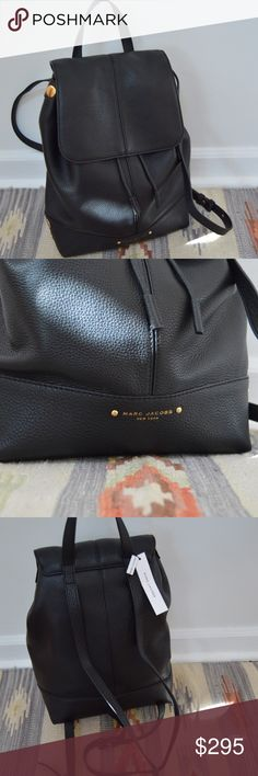 "Marc Jacobs Pine Street Black Leather Backpack NWT, Marc Jacobs black pebbled leather travel backpack, perfect condition, magnetic closure under flap, additional drawstring cinch closure under flap, length: 14"", height: 14"", width: 4.5"", handle: 4"", straps: 31"". She's a beauty! Marc Jacobs Bags Backpacks"
