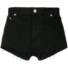 Heron Preston frayed denim shorts (5.034.320 IDR) ❤ liked on Polyvore featuring shorts, black, short cotton shorts, cotton shorts, zip shorts, denim shorts and jean shorts