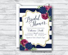 Navy Maroon Bridal Shower Invitation Burgundy by NorthwestDesignCo