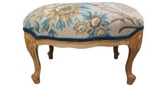 Vintage French-style ottoman newly upholstered in an antique tapestry remnant.