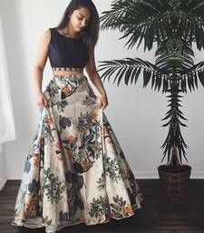 Long Skirt With Flare Gown Floral Printed Royal Wedding Ghagra Vintage Lehnga