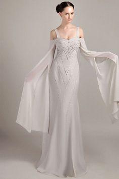 Elegant Silver Chiffon Formal Gown - Order Link: http://www.theweddingdresses.com/elegant-silver-chiffon-formal-gown-twdn1738.html - Embellishments: Beading , Crystal; Length: Floor Length; Fabric: Chiffon; Waist: Natural - Price: 139.67USD