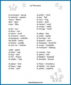 Use these Spanish spring activities and vocabulary list with children learning a second language. Spanish Club Ideas, Spanish Notes, Spanish Basics, Spanish Lessons, French Lessons, Spanish Activities, Vocabulary Activities, Spring Activities, Spanish Worksheets