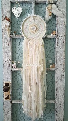 Flower Garden of Pink Butterflies This gorgeous dream catcher is my shabby chic version, but tattered and torn for more romantic vintage charm! Everything has been hand stitched together piece by piece, layer upon layer down to every tiny button, all lovingly stitched with