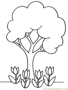 Unit 30 - Spring tree coloring pages, to go along with poem