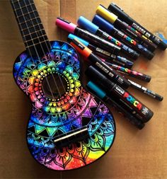 Ukulele and guitar decoration. Ukulele Art, Cool Ukulele, Banjo, Guitar Decorations, Painted Ukulele, Painted Guitars, Ukulele Design, Guitar Diy, Guitar Hero