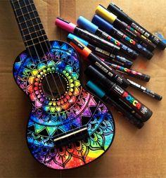 Ukulele and guitar decoration. Ukulele Art, Cool Ukulele, Banjo, Guitar Decorations, Painted Ukulele, Painted Guitars, Ukulele Design, Guitar Diy, Guitar Hero