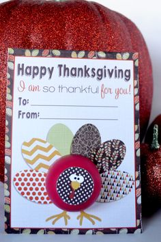 Thanksgiving EOS Lip Balm Teacher Appreciation Gift. Show gratitude for the people in your lives tis Thanksgiving with this fun printable lip balm card.  Use those cool round lip balms to punch out the turkey, then cut out the little turkey head and stick it on the top. It becomes a 3D turkey and a gift all in one. It's a practical gift, it's cute and your friends, family and teachers will love getting such a clever gift from you. You will love how quick and easy it is to make a great gift.