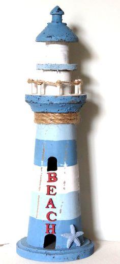 10+cm+x+32+cm+Holz+Leuchtturm+blau+weiß+natur