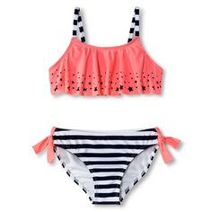 Girls' 2-Piece Star Flounce Top and Striped Bottom Bikini Set