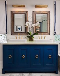 WEBSTA @ krystine_edwards - This gorgeous bathroom vanity was my inspiration for my clients bathroom. Can't wait to have the vanity painted blue next week!  via Hudson Valley Lighting