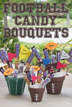 Football Candy Bouquets, Football centerpiece, football themed gift, football desserts/ these could be cute for your Super Bowl Party. Football Banquet, Football Cheer, Football Birthday, Football Season, Football Spirit, Senior Football Gifts, Football Coach Gifts, Cheer Banquet, Football Gift Baskets