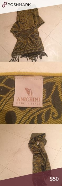 Anichini wool paisley scarf EUC Wrap yourself in luxury!! Anichini wool paisley scarf is a warm hug on those cold winter days.  A smart color yet neutral enough to go with just about anything you own. Has a small snag as pictured. Accessories Scarves & Wraps