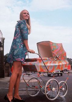 Paisley gallery: Nicky Hunt in mini dress with psychedelic pram 1967