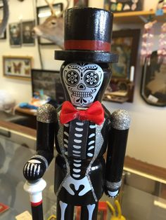 Shop full of brand new collectible nutcrackers, like this one, pretending to be vintage on mendacious Etsy.  Buy the same item, honestly sold as NEW, on eBay:  http://www.ebay.com/itm/HALLOWEEN-WOODEN-DAY-OF-THE-DEAD-SKELETON-NUTCRACKER-NEW-/141768176543
