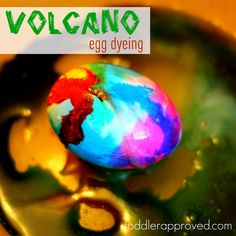 Toddler Approved!: Volcano Egg Dyeing  Materials Needed:        hard-boiled eggs      food coloring      vinegar      baking soda      paint brushes      some cups      big lipped plate or bowl      a cup of water  FUN!!
