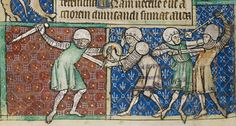 Armoured soldiers fighting in a wonderful miniature from London, Christ Church MS 92, 65v–2, dated to 1326/27. Interestingly, the sword & buckler fighter appears to wear the same kind of fencing gloves you see in contemporary unarmoured buckler fencing.