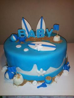 Fondant Beach Themed Baby Shower Cake By CreativeCakesbyLisa, $30.00