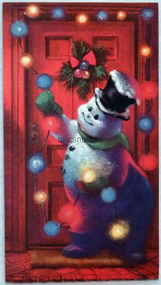 #13 60s UNUSED, NORCROSS, GLITTERED Snowman, Vintage Christmas Card-Greeting