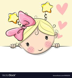 Illustration of Greeting card cute Cartoon Girl with hearts vector art, clipart and stock vectors. Cartoon Drawings, Cute Drawings, Cartoon Art, Cartoon Characters, Cute Images, Cute Pictures, Cute Cartoon Girl, Cute Kids, Cute Art