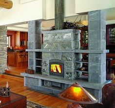 Tulikivi heater by Ron Pihl Stove Fireplace, Fireplace Design, Wood Stove Cooking, Rocket Stoves, Wood Burner, Barn Plans, House In The Woods, Hearth, Home Remodeling