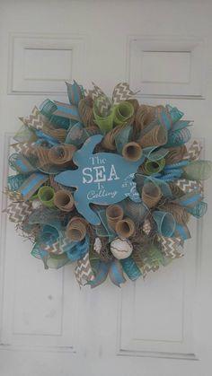 Beach mesh wreath sea turtle wreath ocean by WreathDesignsByLinda Coastal Wreath, Nautical Wreath, Beach Wreaths, Patriotic Wreath, Deco Mesh Wreaths, Door Wreaths, Ribbon Wreaths, Burlap Wreaths, Yarn Wreaths