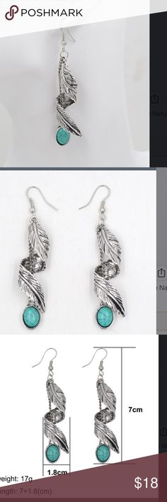 New silver Tibet with turquoise stone earrings Bundle up and save Jewelry Earrings