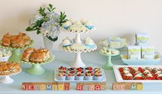 Lots of great ideas! Vintage Bunting Baby Shower » Glorious Treats Love the finger foods, and all the cutesy packaging, and decorations.